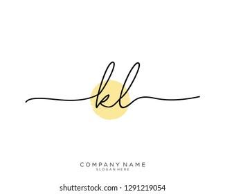 KL K L Initial handwriting logo template