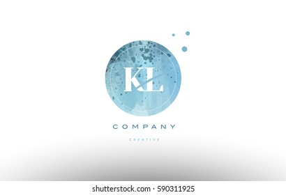 kl k l  watercolor grunge vintage alphabet company letter combination logo circle design vector icon template