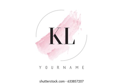 KL K L Watercolor Letter Logo Design with Circular Shape and Pastel Pink Brush.