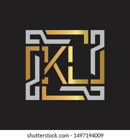 KL Letter logo initial capital monogram with abstract ornament