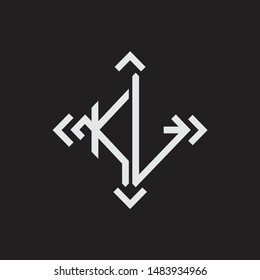 KL Logo Abstrac letter Monogram with Arrow in every side isolated on black background
