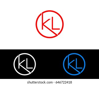 Kl Logo. Letter Design Vector with Red and Black Gold Silver Colors