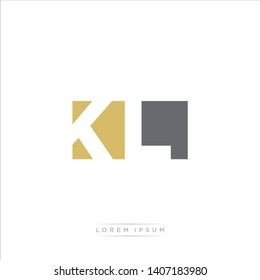 KL Logo Letter with Modern Negative space - Dark Yellow and Grey Color EPS 10