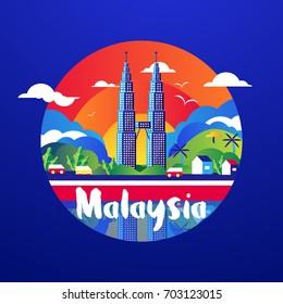KLCC, MALAYSIA - AUGUST 31,1957 : Celebrating Happy Birthday and Independence Day of Malaysia with Kampung Style. Bangkit Bersama Negaraku dan Sehati Sejiwa. Hari Merdeka Dan Kebangsaan,