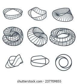 Klein bottle and Mobius strip variations