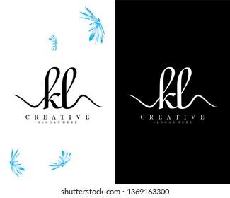 kl/lk initial handwriting logo template design vector