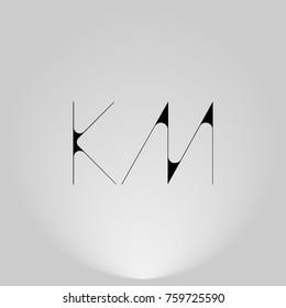 KM Black thin minimalist LOGO Design with Highlight on Gray background.