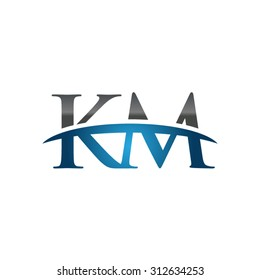 KM initial company blue swoosh logo