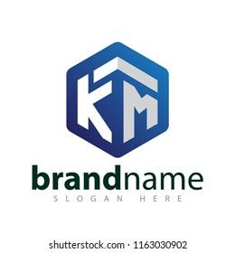 KM Initial letter hexagonal logo vector