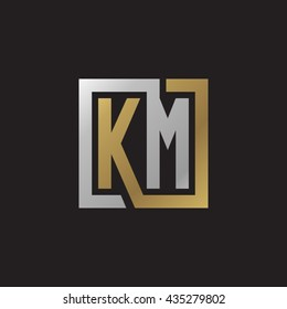 KM initial letters looping linked square elegant logo golden silver black background