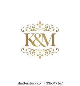 K&M Initial logo. Ornament ampersand monogram golden logo