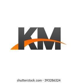 KM initial overlapping swoosh letter logo black orange