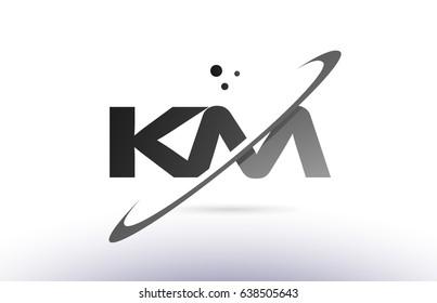km k m alphabet letter logo black white grey swoosh creative text dots company vector icon design template