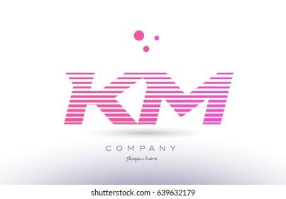 km k m alphabet letter logo pink purple stripes lines creative text dots company vector icon design template