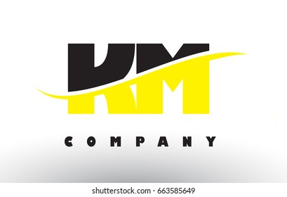 KM K M  Black and Yellow Letter Logo with White Swoosh and Curved Lines.