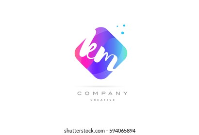 km k m  pink blue rhombus abstract 3d alphabet company letter text logo hand writting written design vector icon template