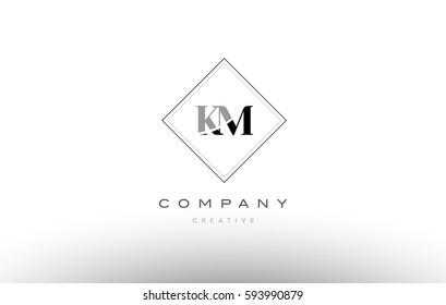 km k m  retro vintage black white alphabet company letter logo line design vector icon template