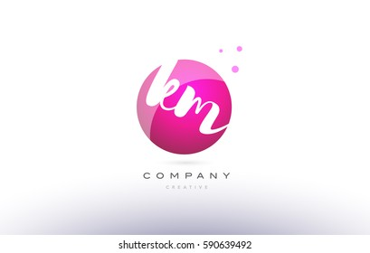km k m  sphere pink 3d alphabet company letter combination logo hand writting written design vector icon template