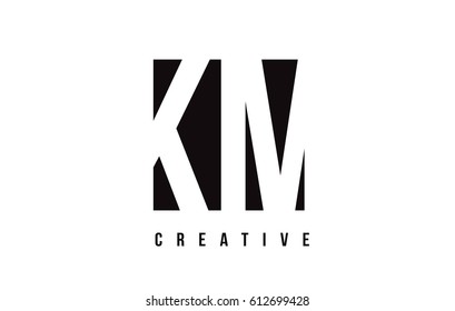 KM K M White Letter Logo Design with Black Square Vector Illustration Template.