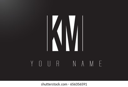 KM Letter Logo With Black and White Letters Negative Space Design.