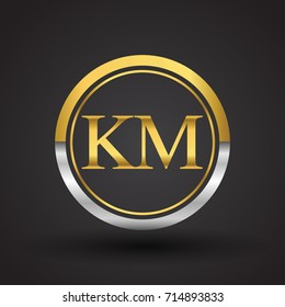 KM Letter logo in a circle, gold and silver colored. Vector design template elements for your business or company identity.