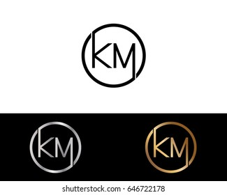 Km Logo. Letter Design Vector with Red and Black Gold Silver Colors
