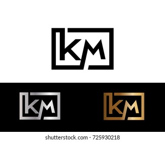 KM Logo. Letter Design Vector with Black Gold Silver Colors