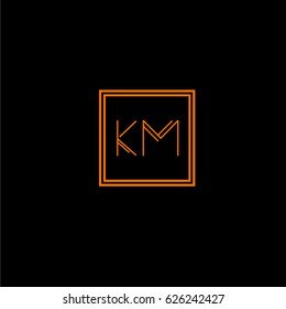 km logo letter initial, Abstract Polygonal Background Logo, design for Corporate Business Identity,flat icon, Alphabet letter