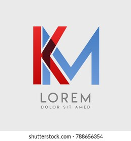 """KM logo letters with """"blue and red"""" gradation"""