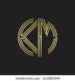 KM Logo monogram triple ribbon style line design template isolated with gold color