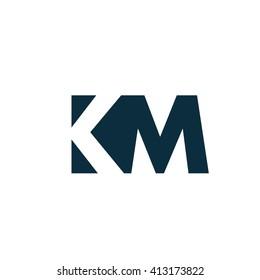 KM Logo. Vector Graphic Branding Letter Element. White Background