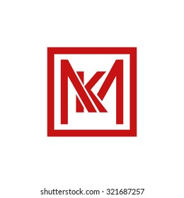KM MK initial company, red square frame