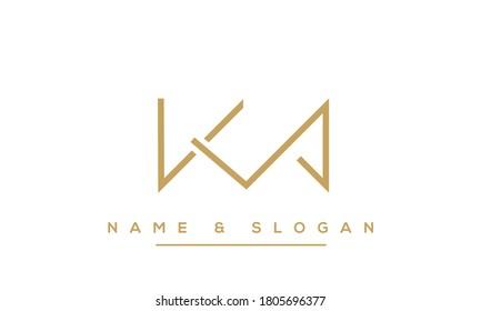 KM, MK, K, M Abstract letters logo monogram