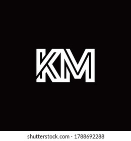 KM monogram logo with abstract line design template