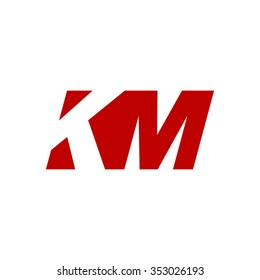KM negative space letter logo red