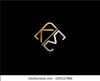 KM square shape Letter logo Design in silver gold color