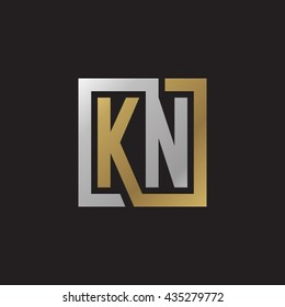 KN initial letters looping linked square elegant logo golden silver black background