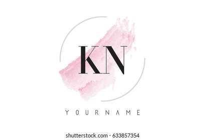 KN K N Watercolor Letter Logo Design with Circular Shape and Pastel Pink Brush.