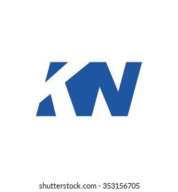 KN negative space letter logo blue