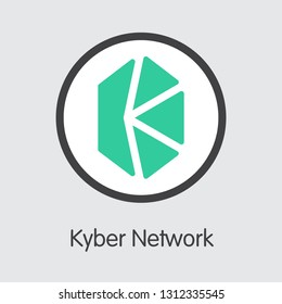 KNC - Kyber Network. The Trade Logo or Emblem of Money, Market Emblem, ICOs Coins and Tokens Icon.