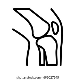 Knee bone joint / articulation with leg line art vector icon for medical apps and websites