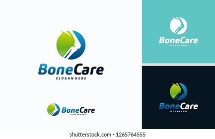 Knee Bone Logo designs concept, Knee Care logo template, Health Bone logo symbol icon