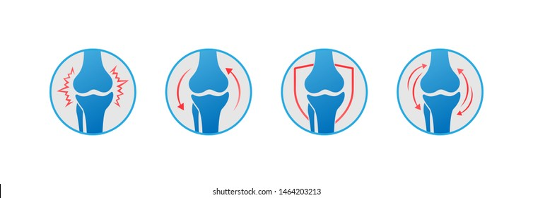 Knee bones vector. Human bone and joint icon set. Rheumatology and traumatology, vector design and illustration.