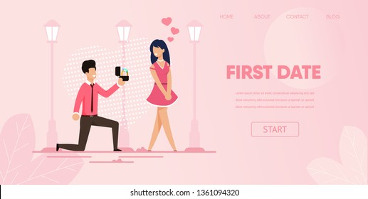 Knee Boyfriend with Engagement Ring Make Proposal Marry to Girlfriend Outdoors Vector Illustration. Man Propose Gift Ring Woman. First Date Concept Romantic Dating Love Relationship