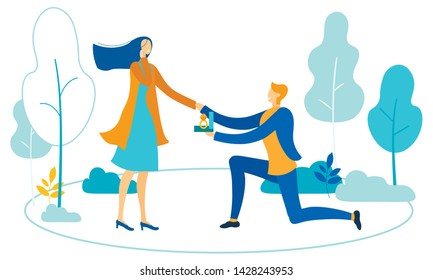 Knee Guy Makes Marriage Proposal to Woman in Park. Man in Love Gives Ring to Sweetheart Female. Happy Couple Gets ready for Wedding. Vector Romantic Dating, Engagement. Love Relationship Illustration