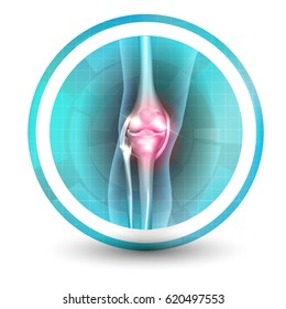 Knee joint health care icon, abstract transparent shapes and wave at the background