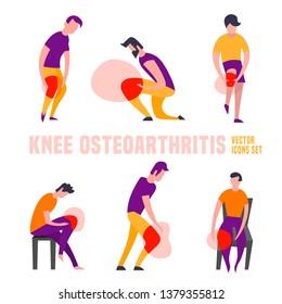 Knee osteoarthritis icons in modern vanguard simplistic style. Knee bones injury. Broken bone sign. Editable vector illustration in bright orange and violet colors. Medical, healthcare concept