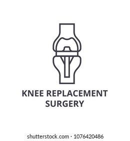 knee replacement surgery  thin line icon, sign, symbol, illustation, linear concept, vector