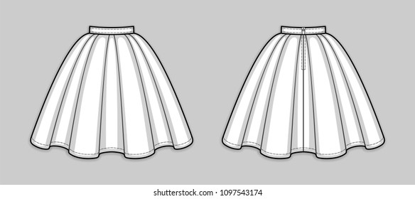 Knee-length flared skirt with pleats, banded waist, back zip closure. Back and front. Technical flat sketch. Vector illustration.