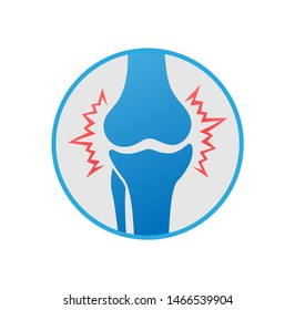 Knees pain. Knee joint inflammation in circle, logo design. Rheumatology and traumatology, vector design and illustration.
